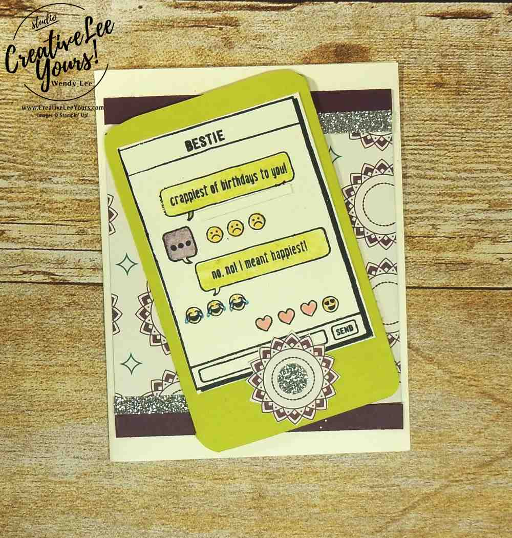 Bestie Birthday by Nancy Phillips,Stampin up, #creativeleeyours, creatively yours,wendy lee, diemonds team swap, Text Ya Later Stamp Set, stamping,handmade, cards for teens