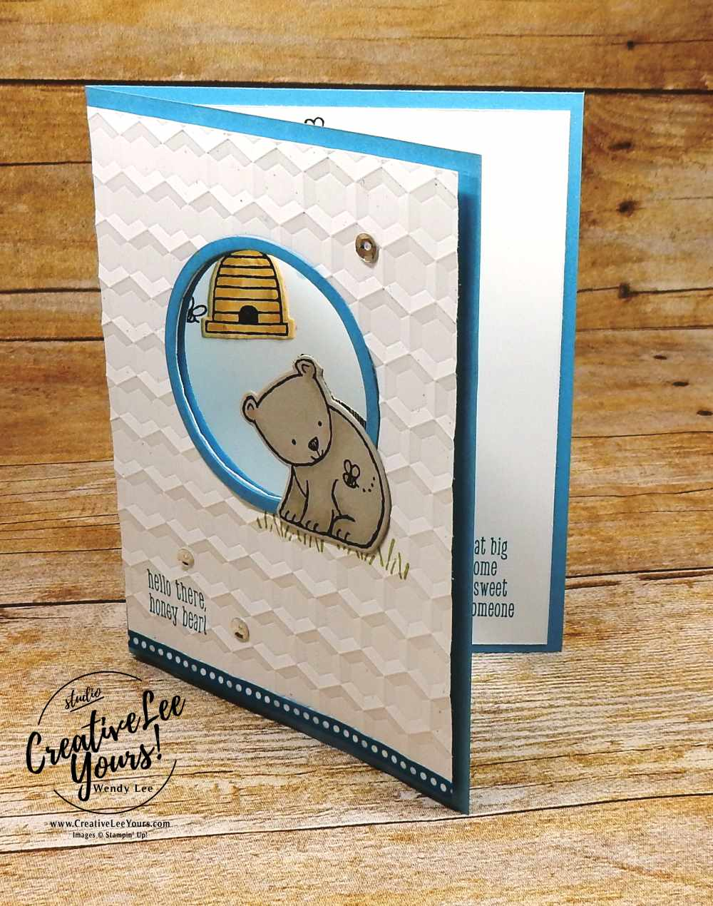 Baby Honey Bear by wendy lee, stampin Up,stamping rubber stamps, a little wild stamp set, colorful seasons stamp set, little loves stamp set,, handmade baby card,August 2017 FMN class