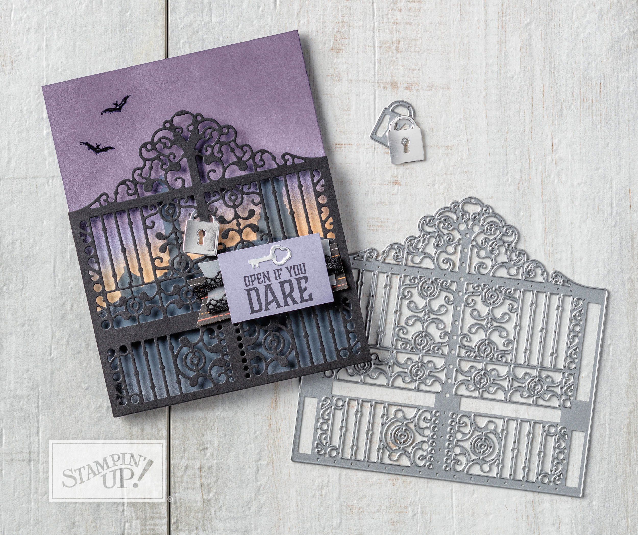 graveyard gate bundle with wendy lee, stampin up, stamping, rubber stamps, handmade, halloween crafts, detailed gate thinlits, graveyard gate stamp set