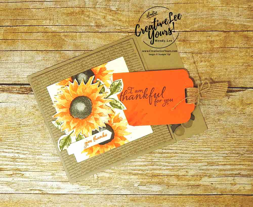 Thankful Tag with Wendy Lee, Stampin Up, #creativeleeyours, creatively yours, fall card, hand made, stamping,rubber stamps, painted harvest stamp set