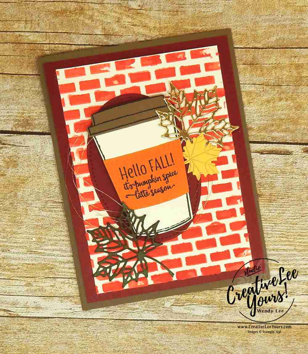 Hello Fall by Jennifer Gerwig Dively, Stampin Up, #creativeleeyours, creatively yours, wendy lee, diemonds team swap,fallcards, handmade, stamping,merry cafe stamp set, coffee cups framelits