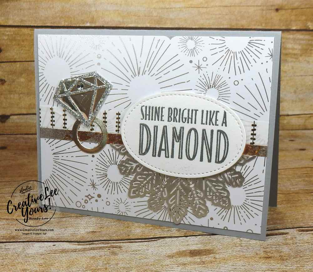 Shine Bright by Nancy Phillips, wendy lee, stampin up, #creativeleeyours, creatively yours, diemonds team swap, congrats, handmade card, you're priceless stamp set, eclectic framelits, stamping,celebrate