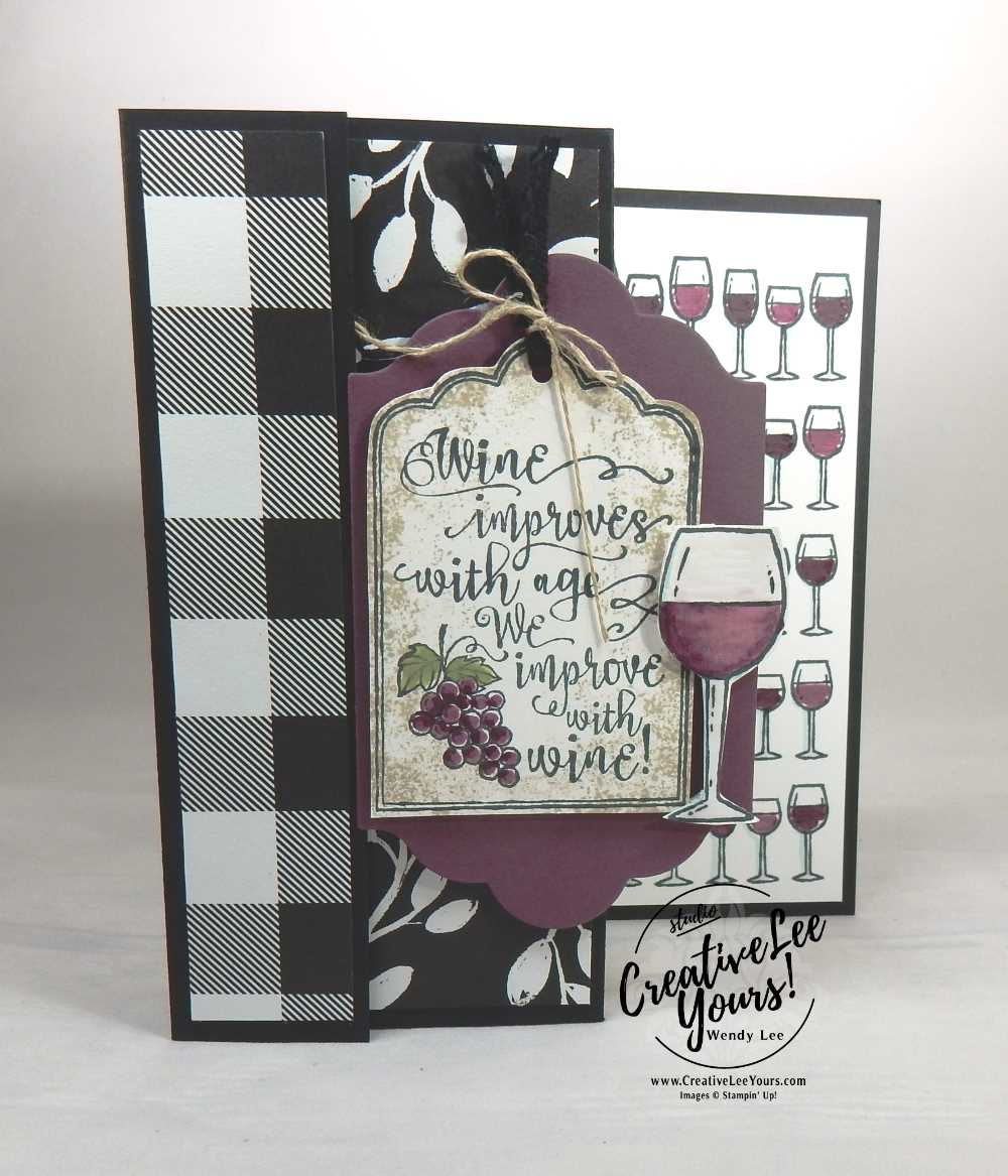 Wine With Friends by Wendy Lee,stampin up, stamping, hand made cards, rubber stamps, #creativeleeyours, creatively yours, September 2017 FMN class, half full stamp set