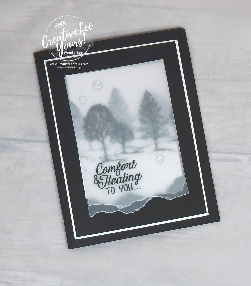 comfort and healing masculine sympathy card by wendy lee, stampin up, #creativeleeyours, creativelyyours, lovely as a tree stamp set, flourishing phrases stamp set, hand made card, rubber stamps, stamping, embossing on vellum