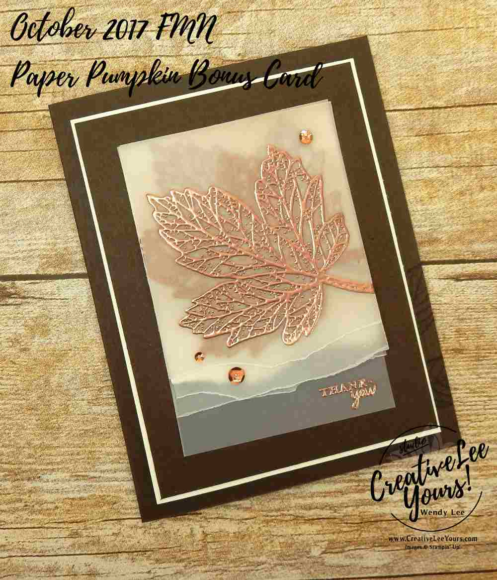 Falling Leaves by Wendy Lee, Stampin Up, #creativeleeyours, September 2017 FMN class, fall card, hand made, stamping,rubber stamps, Paper Pumpkin Bonus card, layered leaves stamp set, masculine