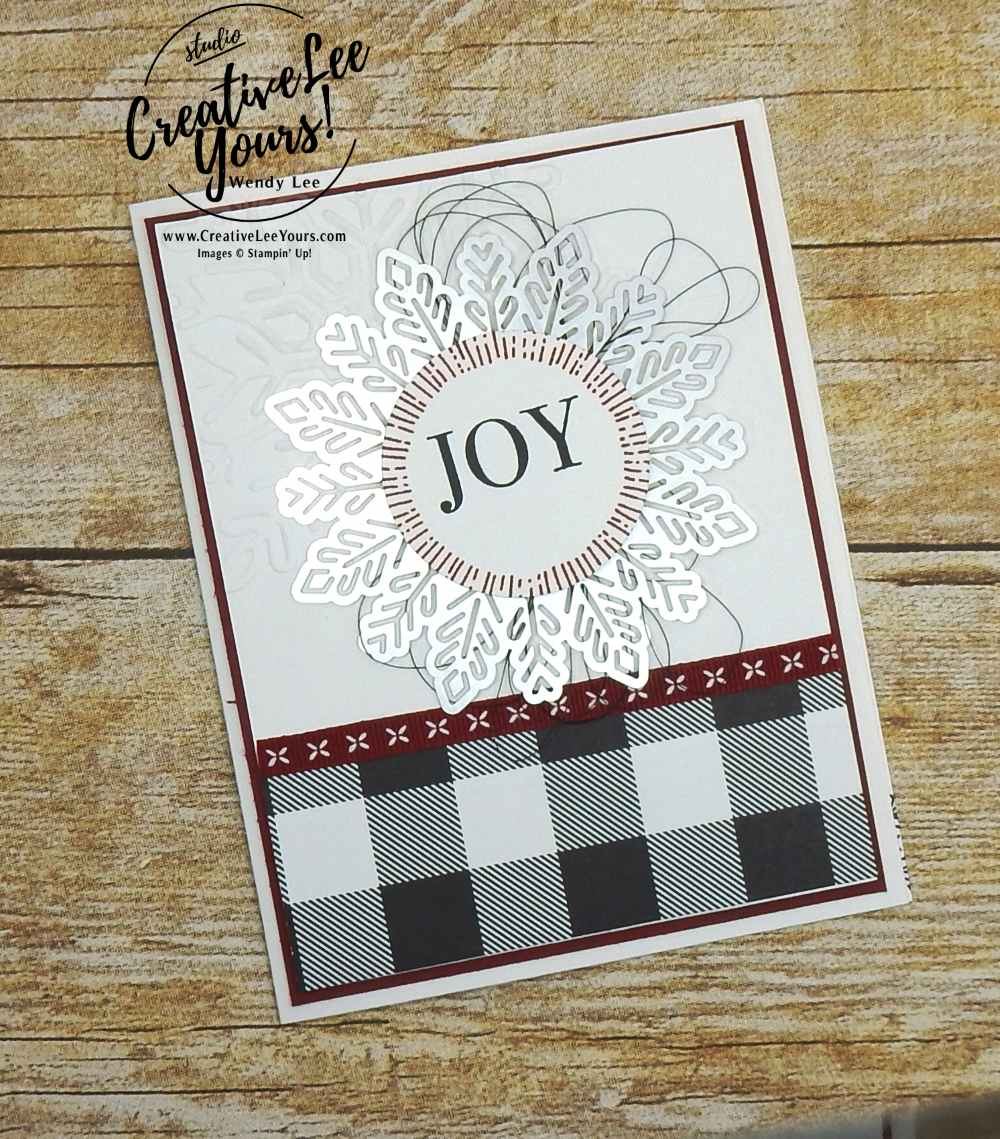 Snowflake Joy by Jennifer Moretz, easy christmas card, stampin up, handmade, winter, stamping, rubber stamps, wendy lee, #creativeleeyours, creatively yours, snowflake, diemond team swap, cheers to the year stamp set