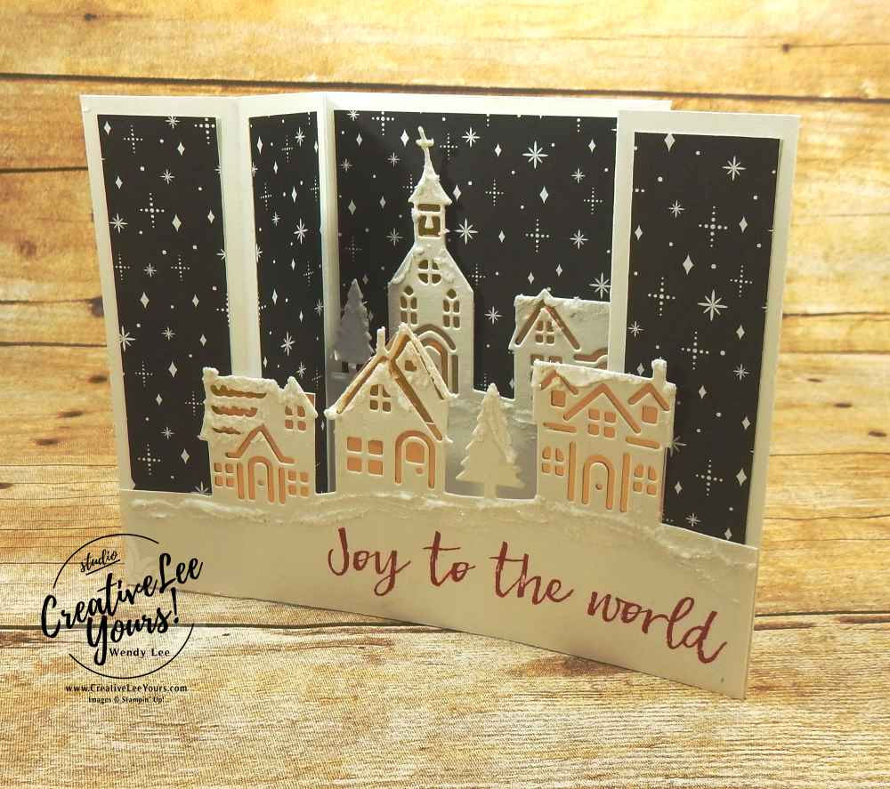 Hometown Bridge Fold by wendy lee, stampin up, #creativeleeyours, creatively yours, stamping, hand made, holiday cards, christmas cards, hearts come come stamp set, hometown greeting edgelits, fun fold,FMN card class,rubber stamps
