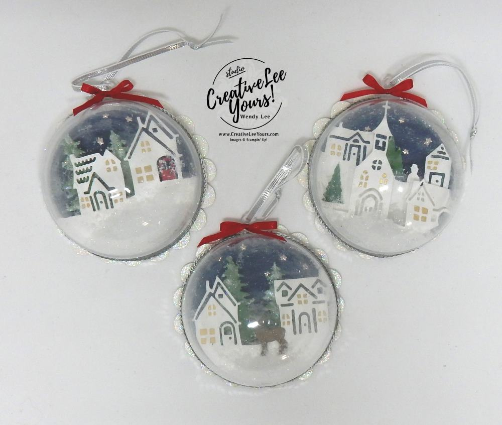 Hometown Home Decor Class by Wendy Lee,stampin Up, hand made, stamping, big shot, hearts come home stamp set, hometown greeting edgelits, christmas, shaker ornaments