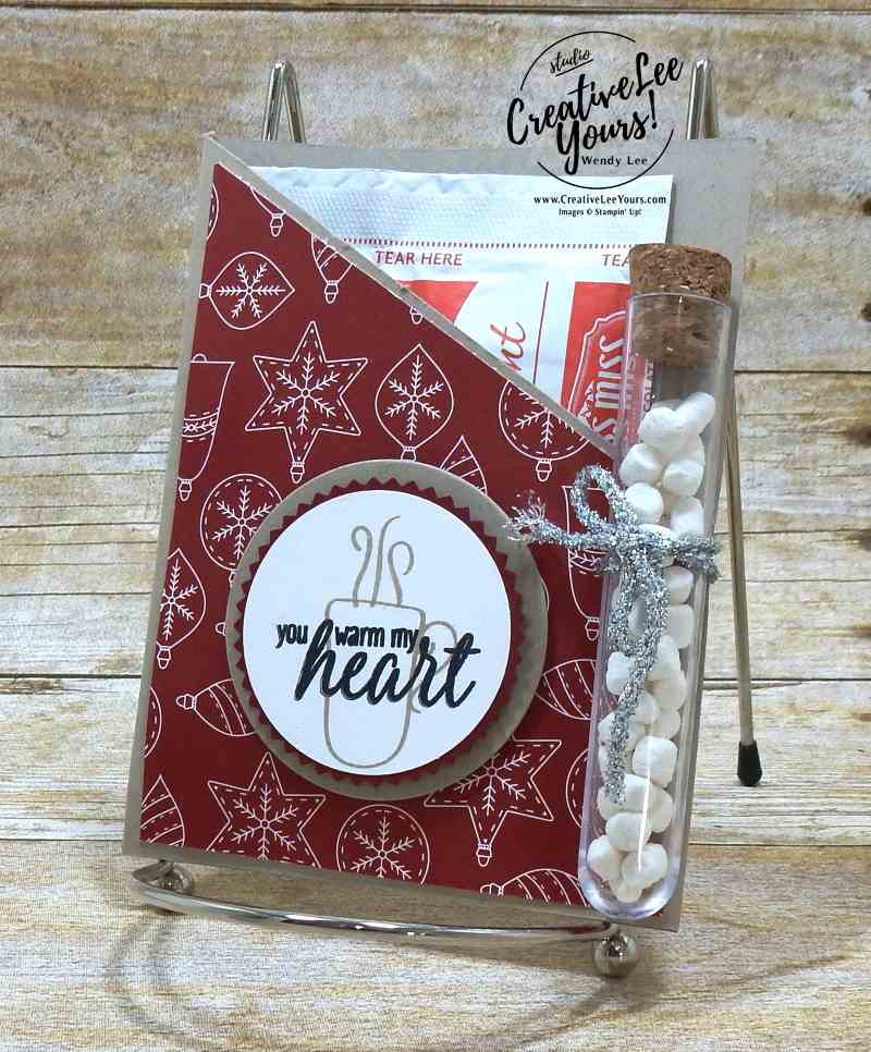 Warm My Heart with Wendy Lee, stampin up, #WCMD 2017 Atlanta, #creativeleeyours, creatively yours, hug in a mug stamp set, hot cocoa packet, goodie bag, party favor, simple and cute handmade gift, treats, november 2017 party