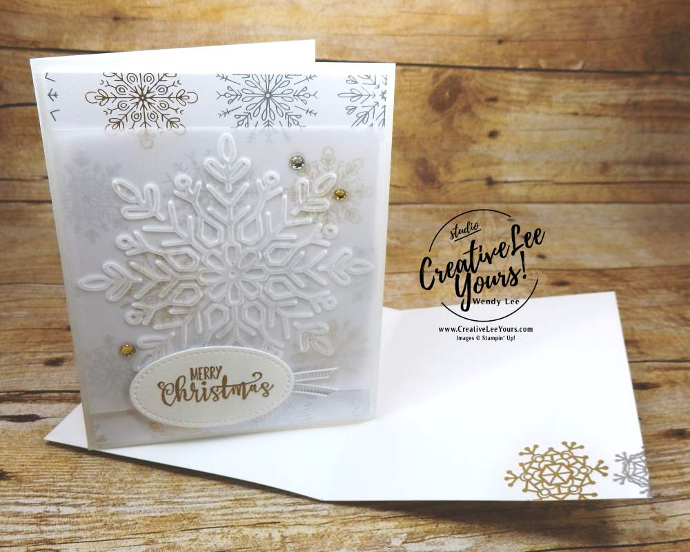Merry Christmas Snowflakes by Wendy Lee, Stampin Up,easy handmade holiday cards, elegant, #creativeleeyours,half full stamp set, stamping,winter wonder, year of cheer, christmas, embossing