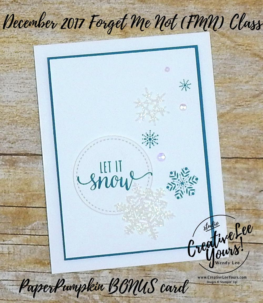 Let it Snow by wendy lee, October 2017 Paper Pumpkin Pining for Plaid,November 2017 Paper Pumpkin Back in Plaid,snowflakes, Stampin Up, stamping,handmade,#creativeleeyours,creatively yours, quick & easy,kit,subscription