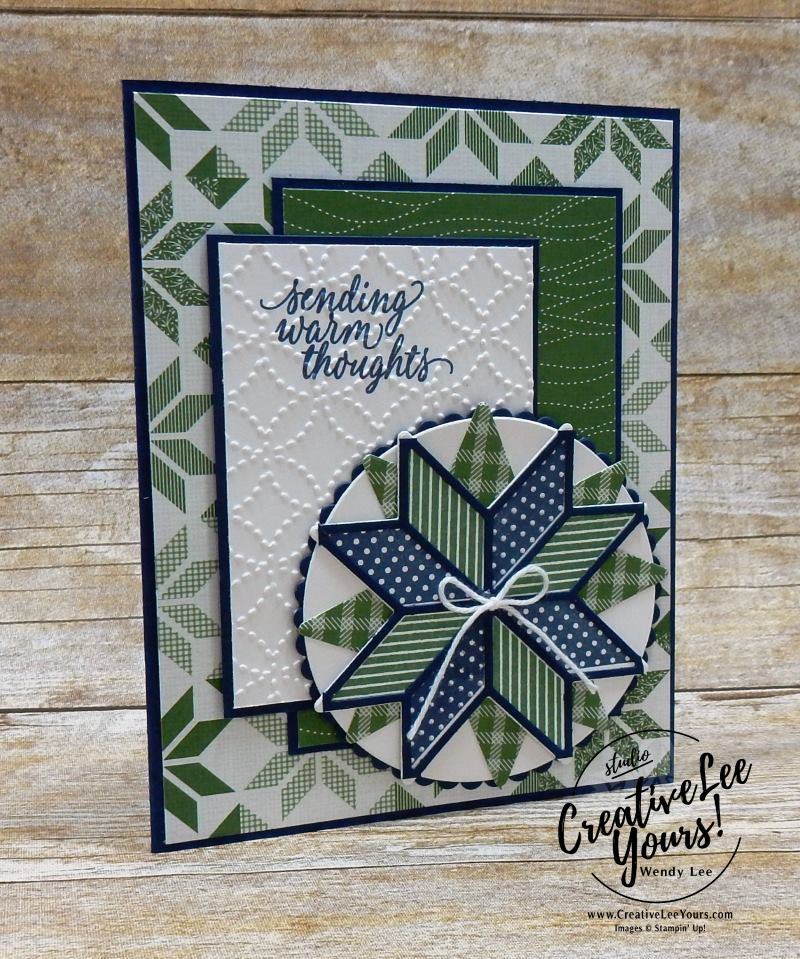 Warm Thoughts by Wendy Lee,Stampin Up, #creativeleeyours, hand made, stamping,christmas quilt stamp set,hug in a mug stamp set, quilt builder framelits, winter card,,creatively yours