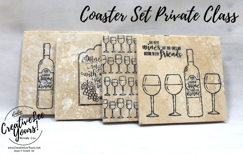 Coaster set by wendy lee,private classes, gift set, stamping, handmade,teacher, secretary, Stampin Up, #creativeleeyours,creatively yours,, half full stamp set