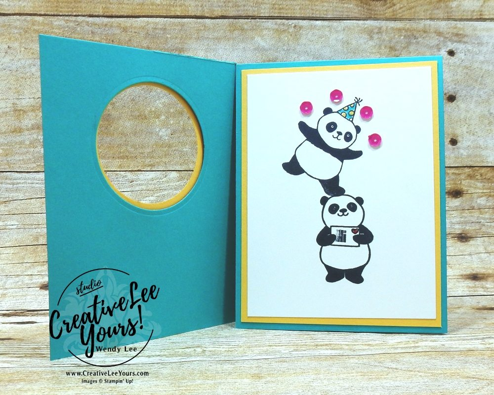 Polka Dot Pandas by wendy lee, Diemonds team meeting, wendy lee, #creativeleeyours, creatively yours, stampin Up, stamping, handmade,party panda stamp set, sale-a-bration, SAB, cute birthday card