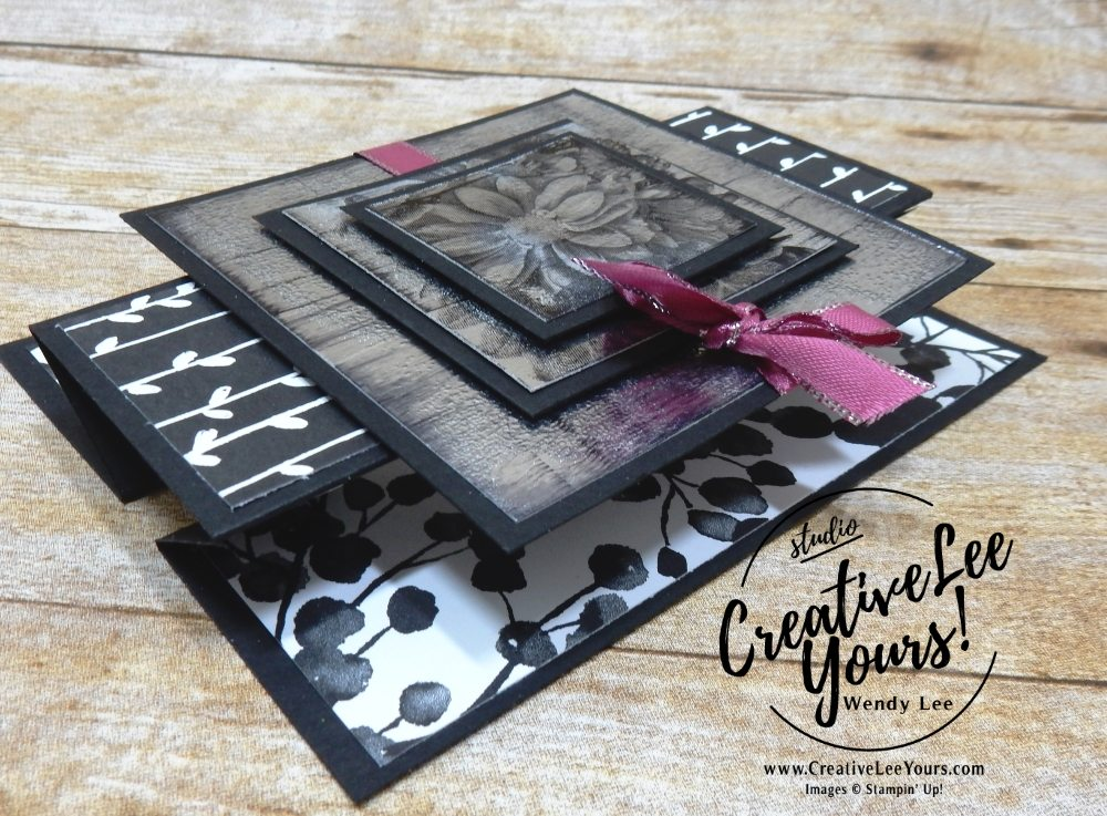 Triple stamping Black Ice by Wendy Lee,stampin up,stamping, hand made, fun fold card, #creativeleeyours, creatively yours, Kylie Bertucci Crazy Crafters blog hop,SAB,sale-a-bration,heartfelt blooms stamp set