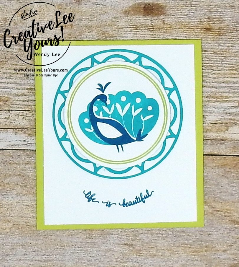 Beautiful Peacock by Aimee Smith,wendy lee, stampin up, stamping, beautiful peacock stamp set, SAB,Sale-a-bration,handmade,layering circles, SU,#creativeleeyours, creatively yours,creative-lee yours, SU cards,eastern medallions,diemonds team swap