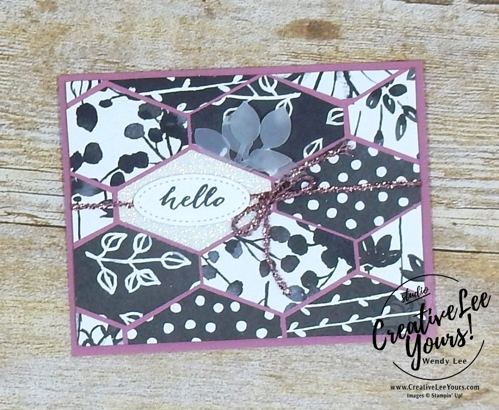 Hello by wendy lee, stampin up, handmade, stamping, #creativeleeyours, creatively yours, creative-lee yours, #makeacardsendacard, stamping,SU, paper pumpkin,sliding door framelits, April 2018 FMN class, forget me not, Bonus card,March 2018 Paper Pumpkin May Good Things Grow Kit,mothers day
