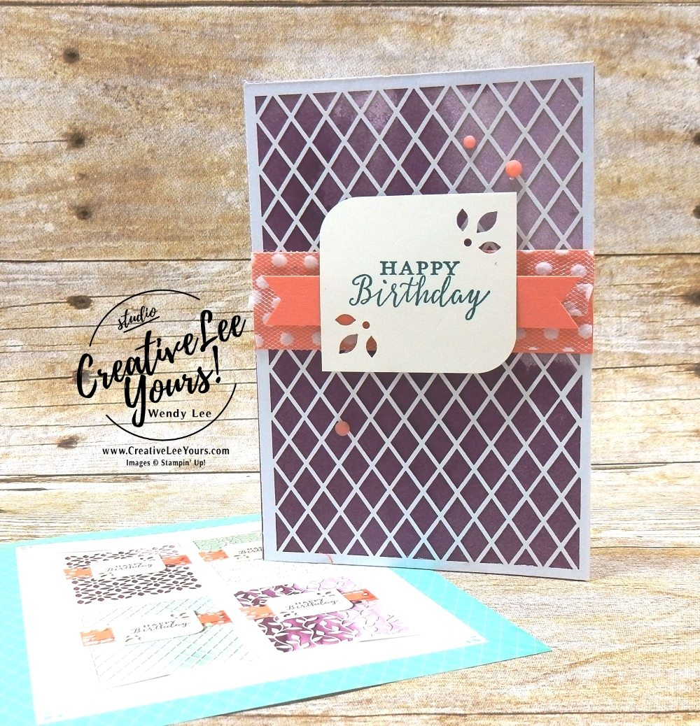Laser Cut Birthday by Wendy Lee, creatively yours, creative-lee yours, Stampin Up, stamping, handmade, SU, #creativeleeyours, detailed with love  stamp set, april 2018 on stage, SU event, #makeacardsendacard, 2018-2019 catalog sneak peek