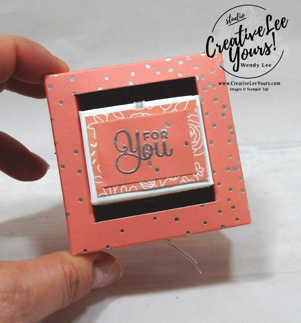 Pull & Turn Box by wendy lee, stampin up, handmade, stamping, #creativeleeyours, creatively yours, creative-lee yours, #makeacardsendacard, stamping, SU, Cake Soiree stamp set,seasonal layers thinits, free printable tutorial, embossing, candy treat holder