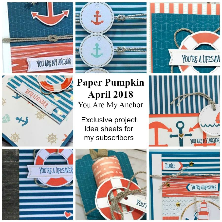 April 2018 You Are My Anchor Paper Pumpkin Kit by wendy lee, stampin up, handmade cards, rubber stamps, stamping, kit, subscription, nautical cards, thank you, congrats, friend, #creativeleeyours, creatively yours, creative-lee yours,SU, SU cards