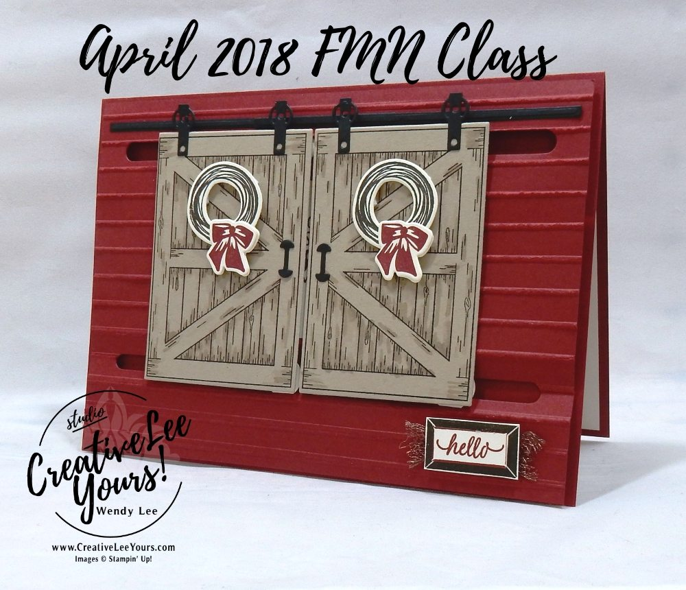 Double barn door by Wendy Lee, Stampin Up, stamping,  handmade card, friend, sympathy, birthday, #creativeleeyours, creatively yours, creative-lee yours, April 2018 FMN card class, forget me not, barn door stamp set, slider card, masking, SU, SU cards, rubber stamps, masculine