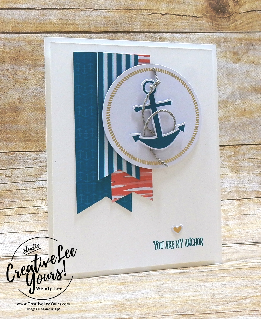 April 2018 You Are My Anchor Paper Pumpkin Kit by wendy lee, stampin up, handmade cards, rubber stamps, stamping, kit, subscription, nautical cards, thank you, congrats, friend, #creativeleeyours, creatively yours, creative-lee yours, SU, SU cards, masculine