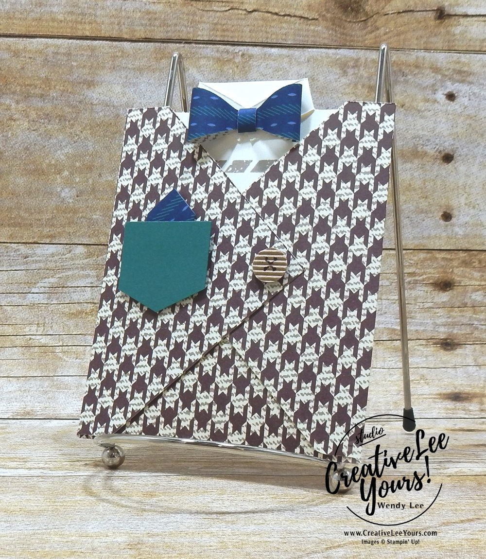 Dad's Shirt by Wendy Lee, fun fold, pocket cad, Stampin Up, stamping, masculine, handmade card, fathers day, dad, birthday, #creativeleeyours, creatively yours, creative-lee yours, May 2018 FMN card class, forget me not, apron of love stamp set, butterfly basics stamp set, SU, SU cards, rubber stamps