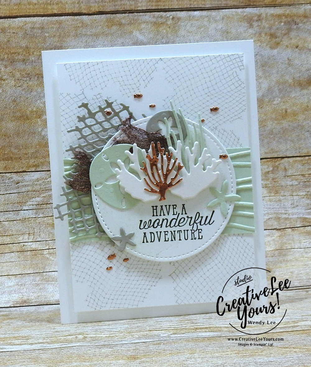 Wonderful Adventure by Wendy Lee, Stampin Up, stamping, handmade card, friend, thank you, birthday, #creativeleeyours, creatively yours, creative-lee yours, June 2018 FMN card class, forget me not, sea of textures stamp set, collage technique, SU, SU cards, rubber stamps