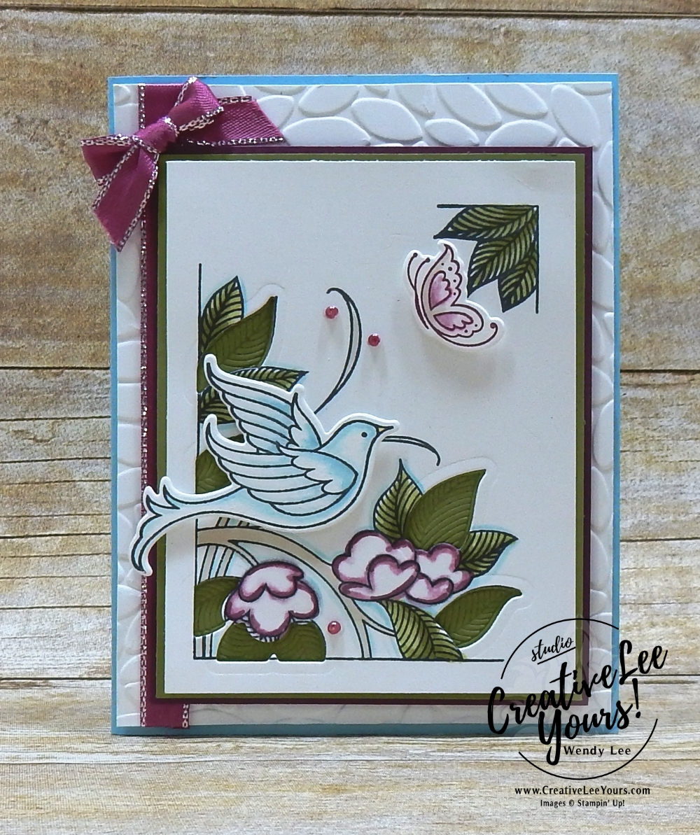 Let's Celebrate by Wendy Lee, Stampin Up, stamping, handmade card, friend, thank you, birthday, #creativeleeyours, creatively yours, creative-lee yours, June 2018 FMN card class, forget me not, serene garden stamp set, celebration, SU, SU cards, rubber stamps