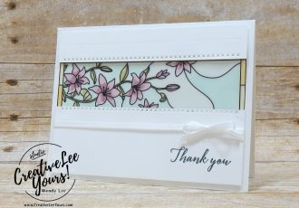 Go For Greece blog hop, kylie bertucci, cardmaking, handmade card, rubber stamps, stamping, stampin up, wendy Lee, #creativeleeyours, creatively yours, creative-lee yours, SU, SU cards, incentive trip,  tropical chic stamp set, stitched labels framelits, thank you, blends, coloring, stained glass