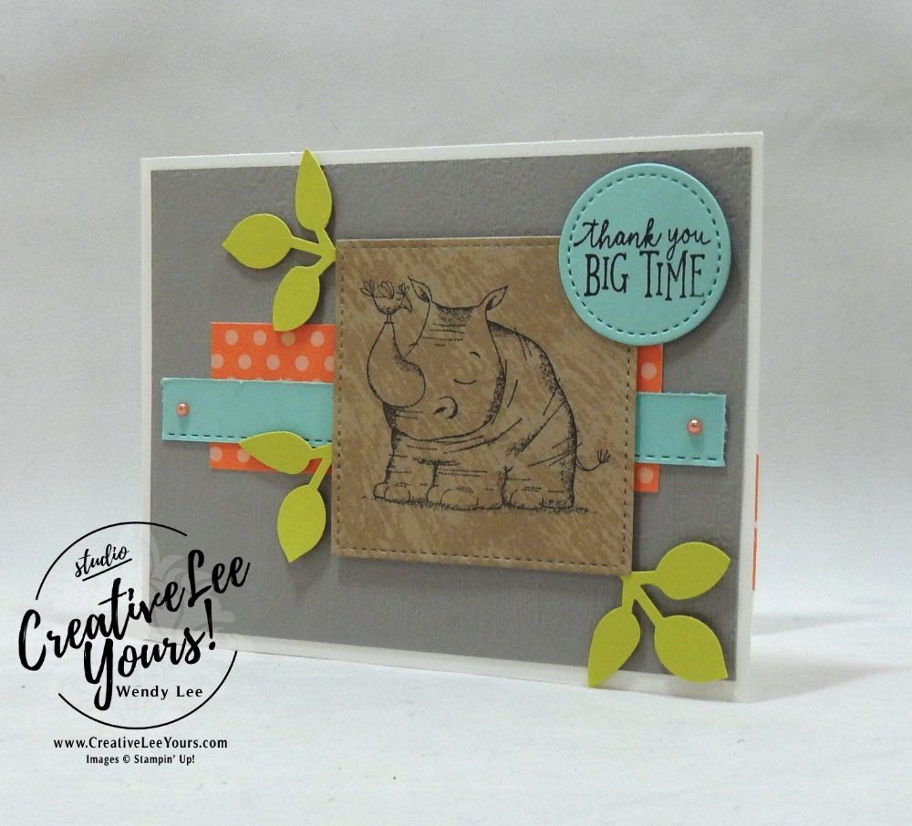 Thank You Rhino by stephanie daniel,Stampin Up, stamping, handmade card, friend, thank you, birthday, #creativeleeyours, creatively yours, creative-lee yours, diemonds team swap, animal outing stamp set, SU, SU cards, rubber stamps