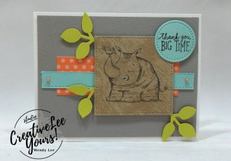 wemdy lee, Thank You Rhino by stephanie daniel,Stampin Up, stamping, handmade card, friend, thank you, birthday, #creativeleeyours, creatively yours, creative-lee yours, diemonds team swap, animal outing stamp set, SU, SU cards, rubber stamps