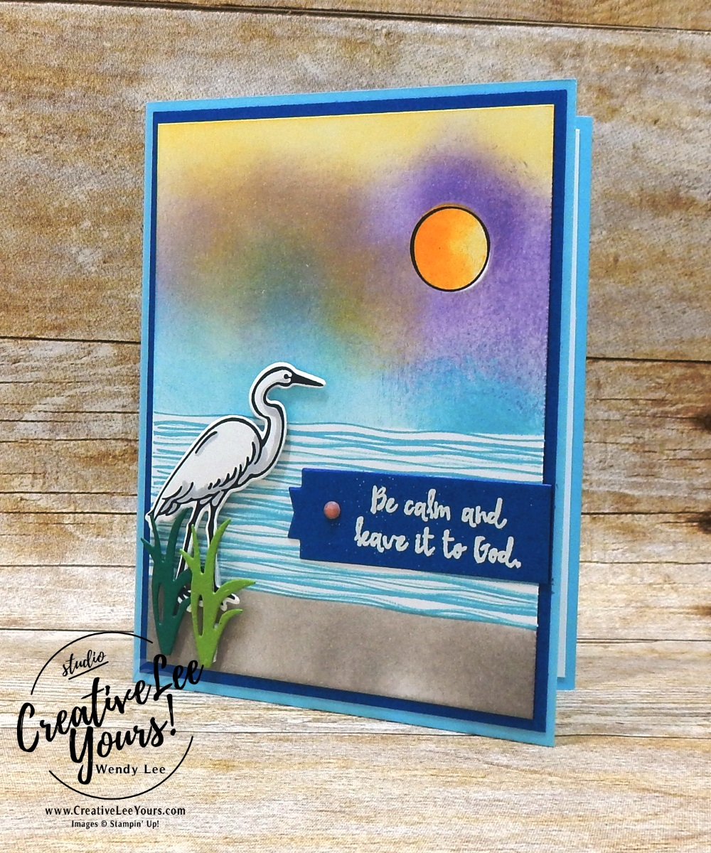 Be Calm by Belinda Rodgers, wendy lee, Stampin Up, stamping, handmade card, friend, thank you, birthday, god, #creativeleeyours, creatively yours, creative-lee yours, diemonds team swap, lilypad lake stamp set, SU, SU cards, rubber stamps, lakeside framelits, burnishing technique, masculine