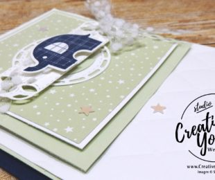 Little Elephant by wendy lee, Stampin Up, stamping, handmade card, friend, thank you, birthday, #creativeleeyours, creatively yours, creative-lee yours, July 2018 FMN card class, forget me not, little elephant stamp set, fun fold, SU, SU cards, rubber stamps, gift card holder. baby