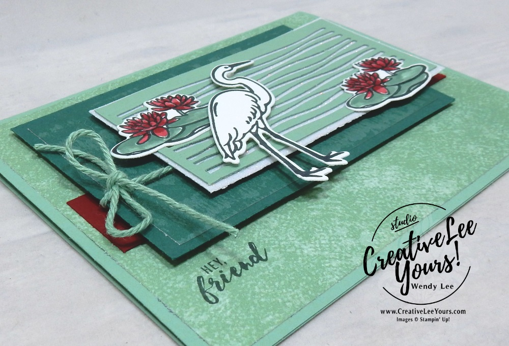 Tranquil Lake by wendy lee, Stampin Up, stamping, handmade card, friend, thank you, birthday, #creativeleeyours, creatively yours, creative-lee yours, free printable tutorial, lilypad lake stamp set, SU, SU cards, rubber stamps, lakeside framelits
