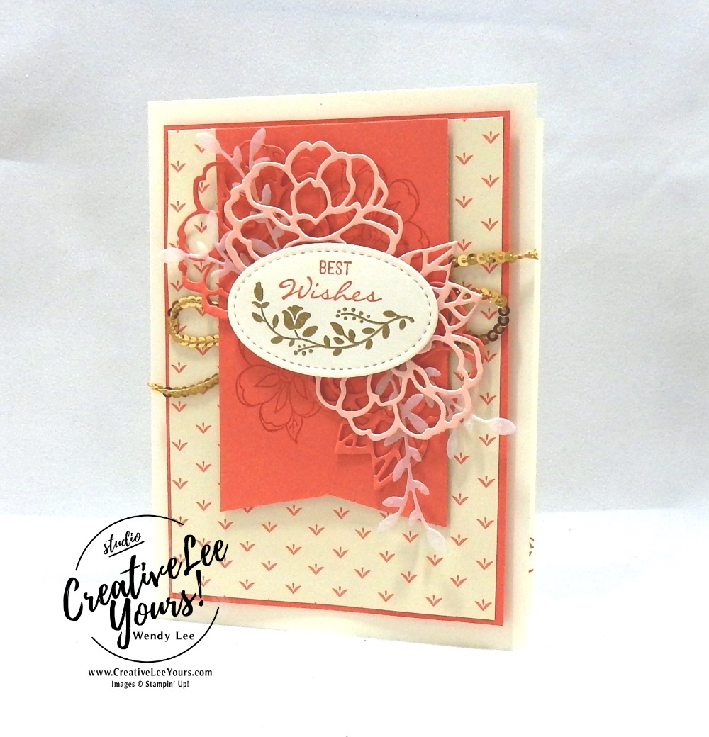 Best Wishes by Jennifer Hamlin, wendy lee, Stampin Up, stamping, handmade card, friend, thank you, birthday, best wishes, #creativeleeyours, creatively yours, creative-lee yours, diemonds team meeting, botanical bliss stamp set, SU, SU cards, rubber stamps, botanical tags framelits
