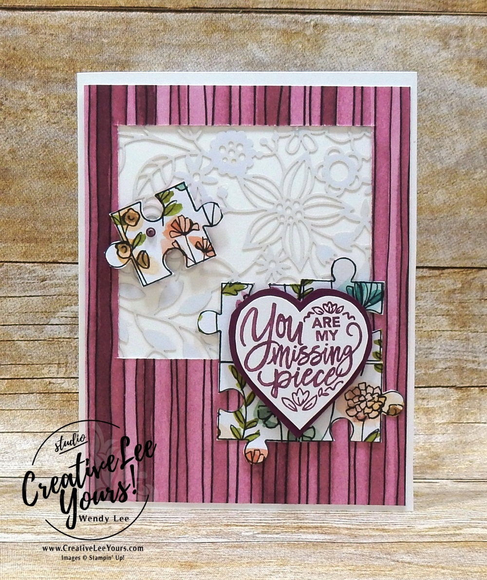 Missing Piece by Nancy Phillips, wendy lee, Stampin Up, stamping, handmade card, friend, thank you, birthday, #creativeleeyours, creatively yours, creative-lee yours, diemonds team swap, love you to pieces stamp set, SU, SU cards, rubber, delightfully detailed laser cut paper
