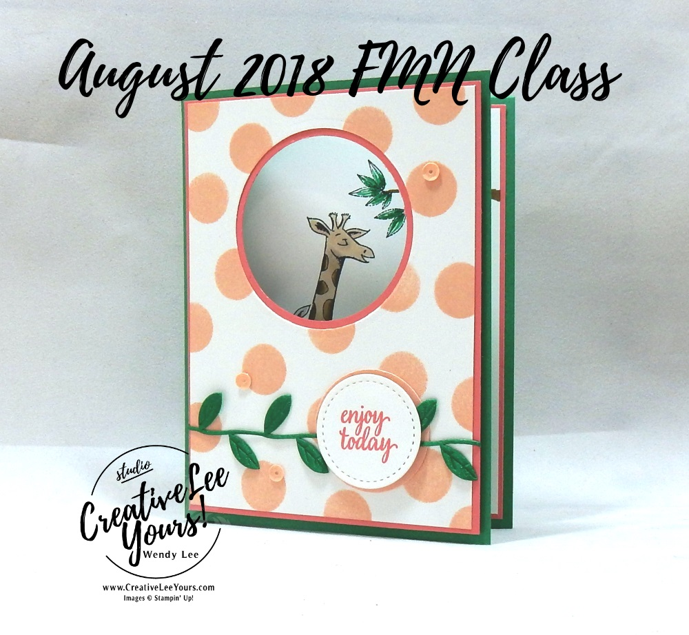 Enjoy Today Fun Fold by wendy lee, Stampin Up, stamping, handmade card, friend, thank you, birthday, #creativeleeyours, creatively yours, creative-lee yours, August 2018 FMN card class, forget me not, SU, SU cards, rubber stamps, paper crafting, all occasions, stitched shapes framelits, tutorial, animal outing stamp set, eastern beauty stamp set