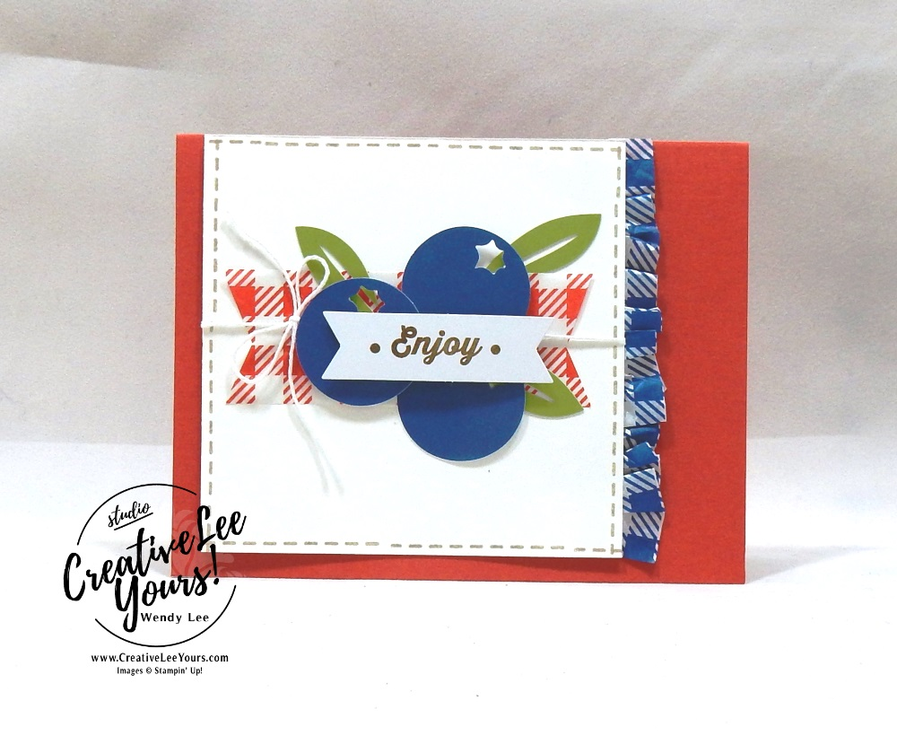 Enjoy, July 2018 picnic paradise Paper Pumpkin Kit by wendy lee, stampin up, handmade cards, rubber stamps, stamping, kit, subscription, #creativeleeyours, creatively yours, creative-lee yours, birthday, friend, thank you, congrats, alternate, SU