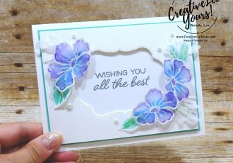 Watercoloring on Vellum by wendy lee, Stampin Up, stamping, handmade card, friend, thank you, birthday, #creativeleeyours, creatively yours, creative-lee yours, August 2018 FMN card class, forget me not, SU, SU cards, rubber stamps, color your season promotion, promotion,  paper crafting, limited time, all occasions, flowers, leaves, stitched seasons framelits, free tutorial, go for greece blog hop