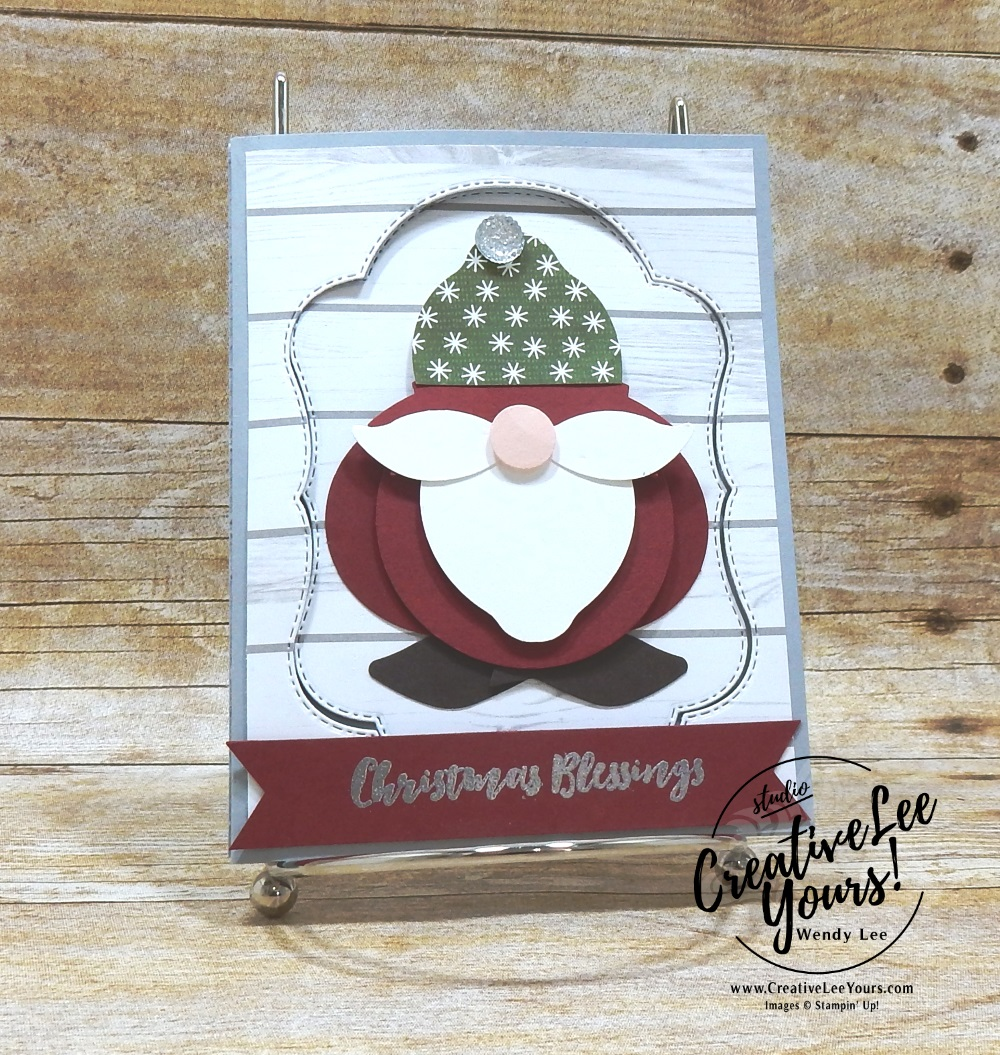 Punch Art Santa by wendy lee, Stampin Up, stamping, handmade card, friend, thank you, birthday, #creativeleeyours, creatively yours, creative-lee yours, blended seasons, punch art, SU, SU cards, rubber stamps, color your season promotion, paper crafting, limited time, all occasions, flowers, leaves, stitched seasons framelits, free tutorial