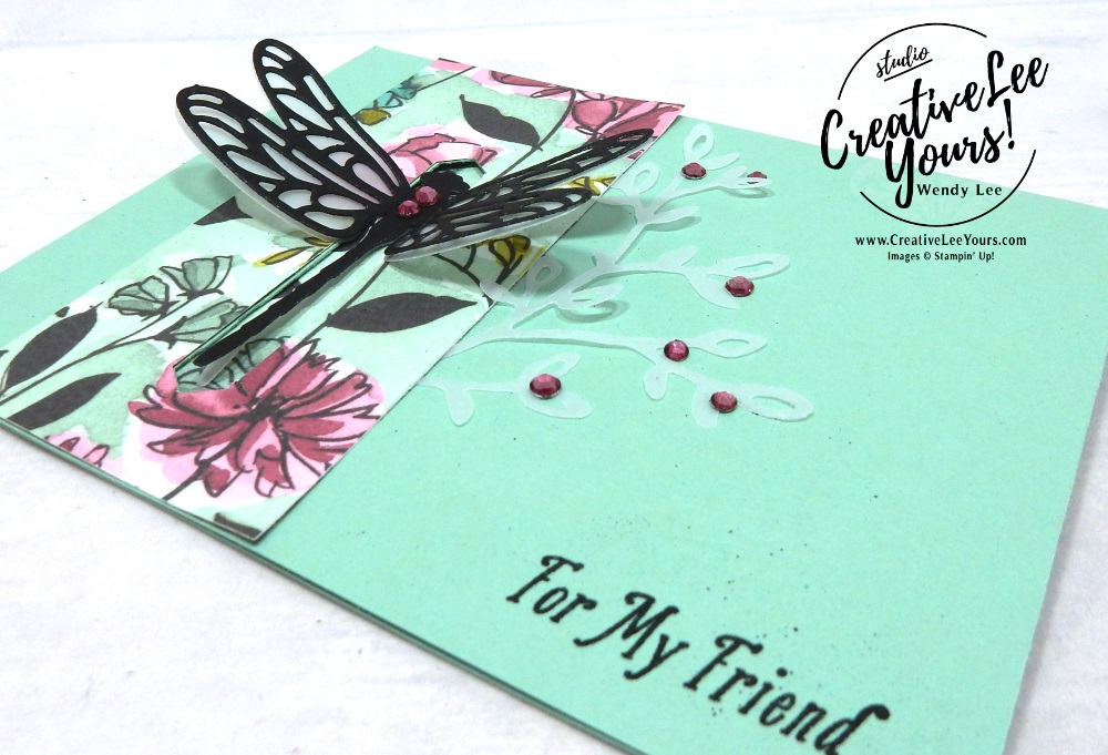 Dragonfly Closure by wendy lee, Stampin Up, stamping, handmade card, friend, thank you, birthday, #creativeleeyours, creatively yours, creative-lee yours, August 2018 FMN card class, forget me not, SU, SU cards, rubber stamps, paper crafting, all occasions, special celebration stamp set, fun fold