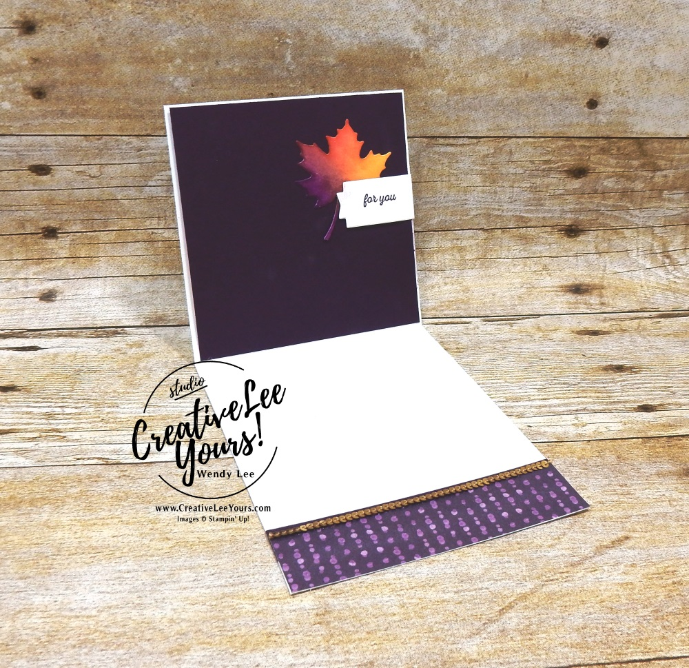 With Gratitude by wendy lee, Stampin Up, stamping, handmade card, friend, thank you, birthday, #creativeleeyours, creatively yours, creative-lee yours, September 2018 FMN card class, forget me not, SU, SU cards, rubber stamps, paper crafting, all occasions, special celebration stamp set, fun fold, fall, gratitude, leaves, burnishing