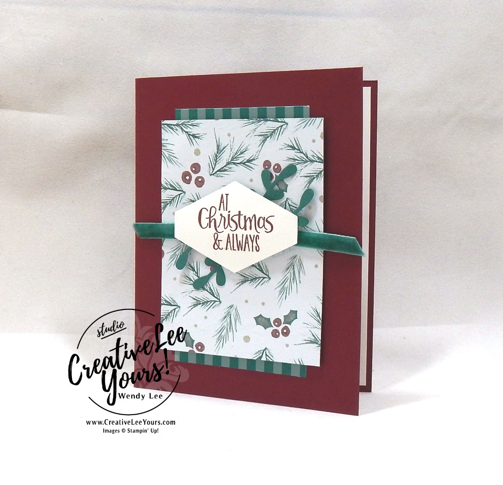 At Christmas by Wendy Lee, Printable Tutorial, stampin Up, #creativeleeyours, hand made, holiday card, stamping, creatively yours, creative-lee yours, Ready for Christmas stamp set, quick & easy, 2018 Holiday catalog paper and ribbon share