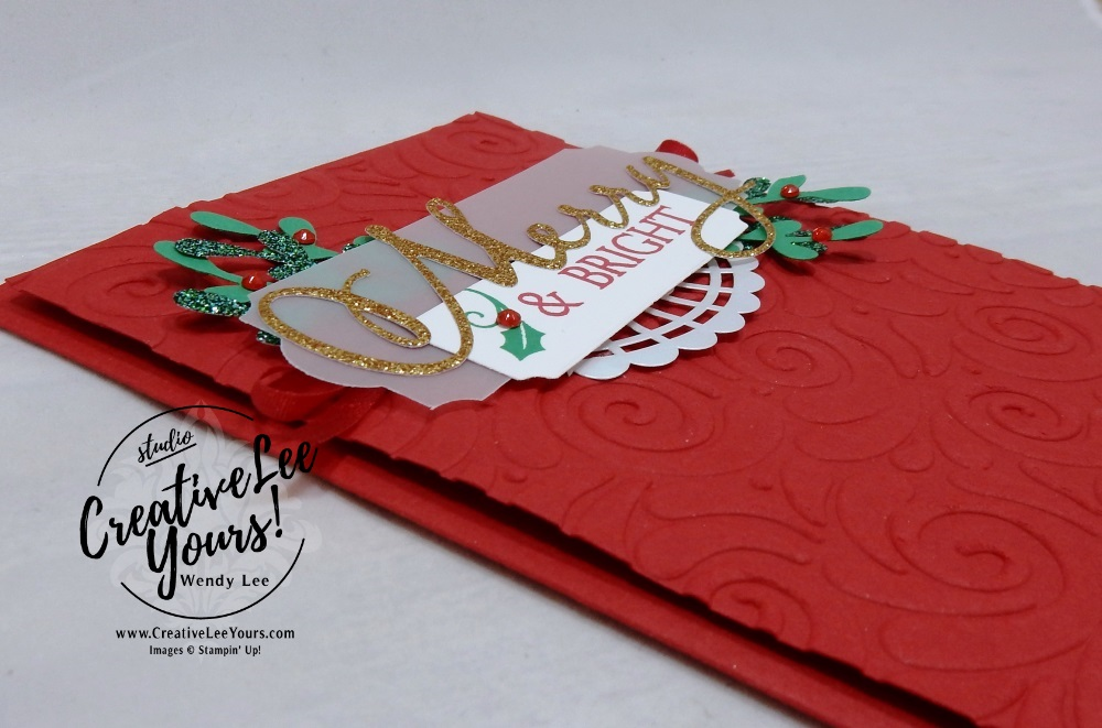 Merry & Bright by wendy lee, October 2018 FMN Class, Forget me not, Stampin Up, stamping, handmade card, holiday, christmas, #creativeleeyours, creatively yours, creative-lee yours, SU, SU cards, rubber stamps, paper crafting, Merry Christmas to All stamp set, Merry Christmas, Happy Holidays, Happy Christmas, DIY, card club