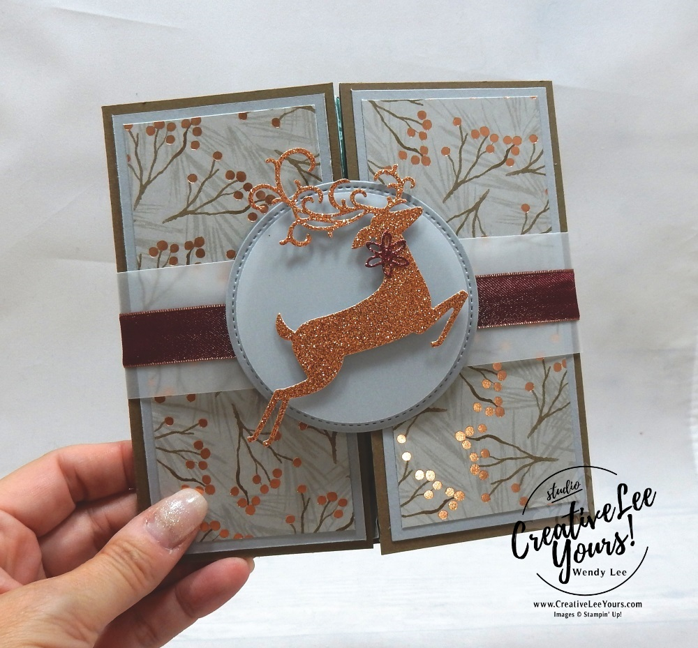 Gate Fold Explosion Fun Fold by wendy lee, October 2018 FMN Class, Forget me not, Stampin Up, stamping, handmade card, holiday, christmas, #creativeleeyours, creatively yours, creative-lee yours, SU, SU cards, rubber stamps, paper crafting, timeless tidings stamp set, Merry Christmas, Happy Holidays, DIY, card club, elegant, dashing deer, sparkle