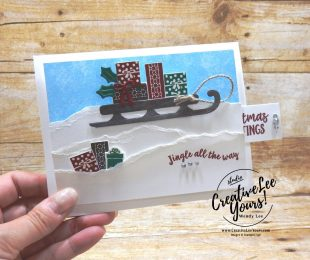 Jingle All The Way by wendy lee, fun fold, pull tab, October 2018 FMN Class, Forget me not, Stampin Up, stamping, handmade card, holiday, christmas, #creativeleeyours, creatively yours, creative-lee yours, SU, SU cards, rubber stamps, paper crafting, Alpine adventure stamp set, Merry Christmas, Happy Holidays, DIY, card club, sled, snow