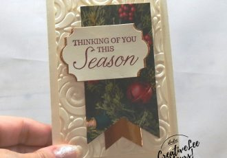 Thinking of You This Season Gift Card by wendy lee, Be Merry Bingo night, Forget me not, Stampin Up, stamping, handmade card, holiday, christmas, #creativeleeyours, creatively yours, creative-lee yours, SU, SU cards, rubber stamps, paper crafting, Winter woods stamp set, Merry Christmas, Happy Holidays, DIY, swirls, fast and easy