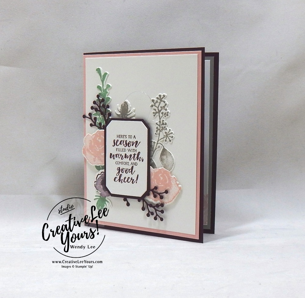 Season Of Warmth by Courtney Reisig, wendy lee, Stampin Up, stamping, handmade card, friend, thank you, birthday,  grateful, holiday, #creativeleeyours, creatively yours, creative-lee yours, diemonds team, first frost stamp set, SU, SU cards, rubber stamps, demonstrator, FROSTED BOUQUET FRAMELITS DIES, winter flowers