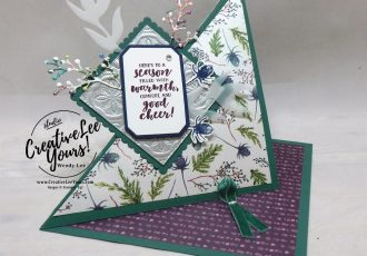 Season of Warmth Easel fun fold by Jennifer Moretz, wendy lee, Stampin Up, stamping, handmade card, #creativeleeyours, creatively yours, creative-lee yours, diemonds team, first frost stamp set, SU, SU cards, rubber stamps, demonstrator, DIY, frosted bouquet, christmas, easel card, winter flowers, business opportunity